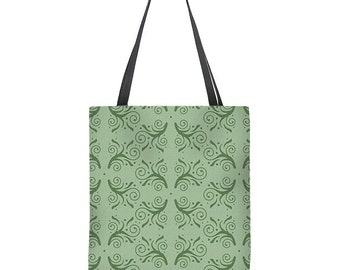 Green tote bag, flourish pattern tote bag, large tote bag, shoulder bag, gift for her, Mother's Day gift, bridesmaids' gift