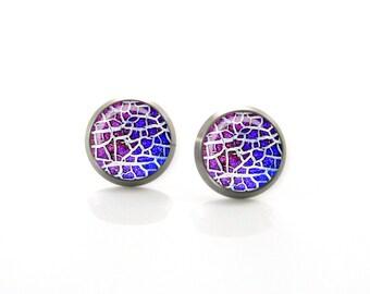 Pink and purple vibrant pattern design Titanium Post Earrings | Hypoallergenic Earring Stud | Titanium Earring Stud Sensitive jewelry post