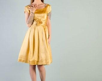 Vintage 1960's Marigold Yellow Satin Party Dress