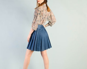Vintage 1960's Cerulean Blue Pleated Mini Skirt