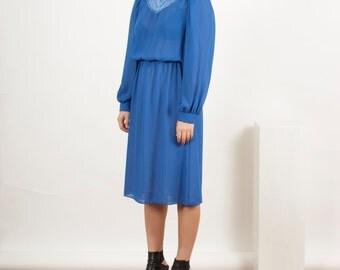 Cobalt Long Sleeve Dress / Pleated Blue Dress / Spring Midi Dress