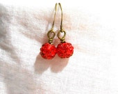 Red Imperfect Crystal Ball Earrings