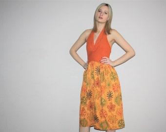 Vintage 1940s Burnt Orange Batik Paisley Ethnic Halter Backless Dress - Mod Boho 40s Dress  - 1940s Bohemian Dresses  - W00356