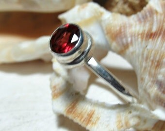 Red Garnet Ring Sterling Silver  .75 Carats Size 6