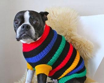vintage dog sweater -  RAINBOW stripes turtleneck sweater / size M