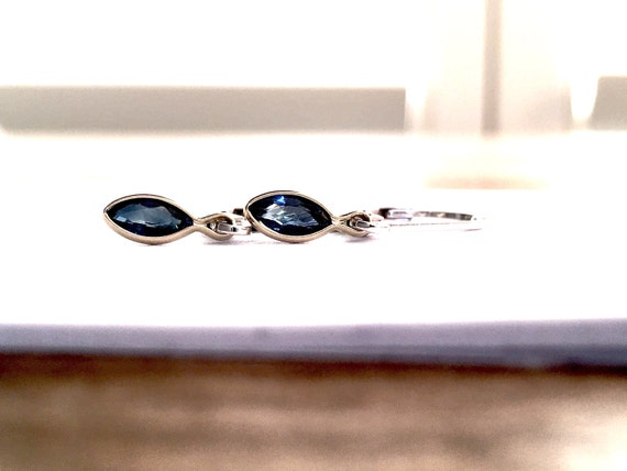 Blue Sapphire Bezel Set Minimalist Dangle Earrings 14k and Sterling Silver