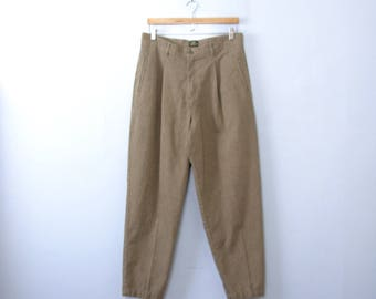 Vintage 80's Lee high waisted pleated trousers, plaid pants, tapered leg, size 16 / 14