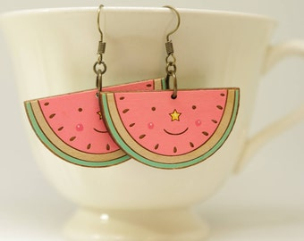 Watermelon hand painted wooden  earrings