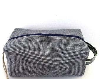 Tweed toiletries, shaving, travel, wash bag, dopp kit, makeup, cosmetic bag, laminated cotton, groomsman gift, graduation gift, boxy shape