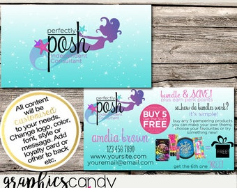 Perfectly Posh Mermaid Independent Consultant Business Card Design - Business Cards - Multi Level Marketing - MLM - Free Shipping USA ONLY!