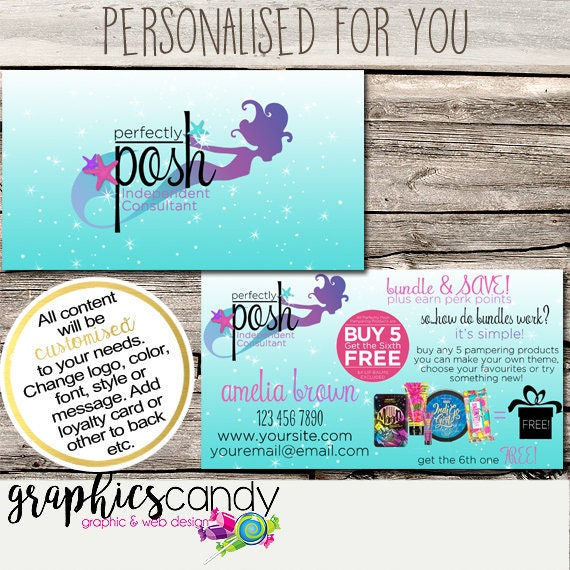 Perfectly posh mermaid independent consultant business card design il570xn reheart Gallery