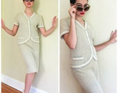 Vintage 1950s Skirt Suit by Domani Knits / Grey Ivory Blue Sweater Skirt Ensemble / Small