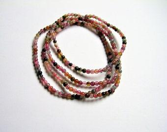 Tourmaline - 3mm round beads - 28 inch strand - 255 beads - Ab quality - multi color tourmaline - RFG1208