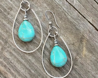 Turquoise Earrings, Silver and Turquoise Hoop Earrings