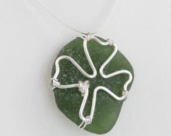 Silver Shamrock Green Sea Glass Necklace Pendant St. Patrick's Day Irish