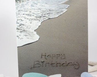 Happy Birthday Beach Writing, Sand Writing, Card, Ocean, Beach, Photo Card,