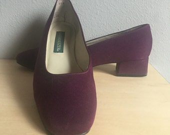 8.5 rounded toe block heel pumps 90s vintage preppy deep purple eggplant hue 1990s kitsch low heels womens shoes 8 9 vintage