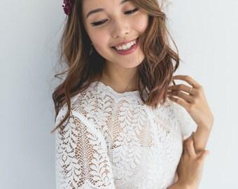 romantic pastel rose headband // burgundy - dainty, floral headpiece, nature inspired, vintage inspired, rustic rose, love.