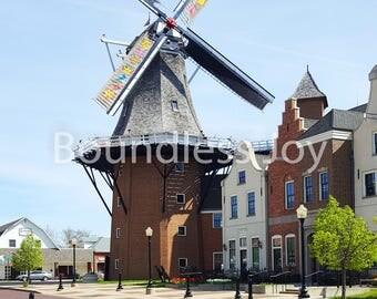 Windmill Photo Print, Pella Iowa, Dutch Holland 8x10