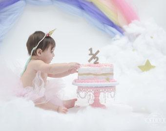 Glitter Half 1/2 Cake Topper - Half Birthday Cake Topper in Glitter Silver or Gold, Cake Smash for 6 Months Half Birthday ( Item - HLF900 )
