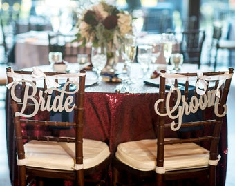 Bride and Groom Chair Signs for Wedding, Hanging Wedding Chair Signs Wooden Wedding Signs Bride & Groom Wedding Chair Signs (Item - LBG200)
