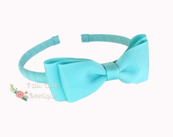 Girls Headband, Headbands for Girls, Aqua Headband with Bow, Little Girl Headband, Hair Accessories, Toddler Headband, Aqua Bow Headband
