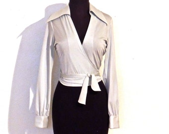 vintage seafoam wrap top - 1960s collared midriff crop top wrap blouse