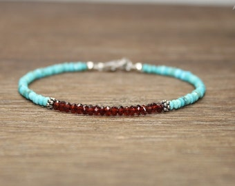Garnet & Sleeping Beauty Turquoise Bracelet, Bali Silver Beads, Sleeping Beauty Turquoise Jewelry, December Birthstone