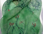 silk scarf hand painted chiffon extra long Spanish Moss unique women wearable art sage green red teal
