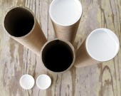 SHIPPING TUBES - Set of 4, 12 x 2 Kraft Mailing Tube with Plastic Caps. Rigid Poster Tube for Mailing Prints or Documents.