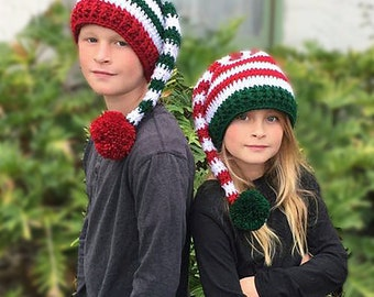 Christmas Elf Hat Crochet Pattern, Holiday Hat Crochet Pattern, CROCHET PATTERN, Elf Hat Pattern, Striped Elf Hat Crochet Pattern, Holly