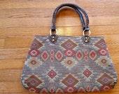 Brown Rust Fabric Handbag Carpet Style Bag Geometric Design