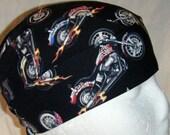 Black Skull Cap w Motorcycles, Chemo Cap, Surgical Cap, Handmade, Alopecia, Hats, Caps, Do Rag, Head Wrap, Helmet Liner, Hair Loss, Cancer