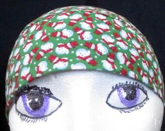 Handmade Green w Snowmen Skull Cap, Chemo Cap, Hats, Surgical Cap, Hair Loss, Bandanna, Head Wrap, Do Rag, Motorcycle, Alopecia,Helmet Liner