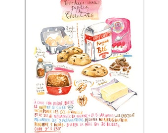 Cookies recipe print in french, Chocolate chip cookies, Kitchen wall art, Food artwork, Home decor, Bakery print, Cookie illustration print