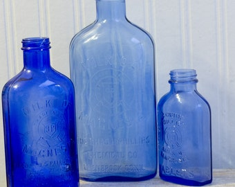 Antique Glass Bottles, Blue Milk Of Magnesia Bottles, Collectible Glass 1920's, Farmhouse Country Home Decor