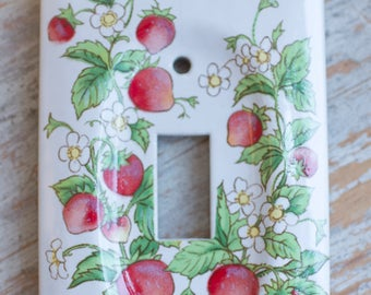 Vintage Switch Plate, Strawberry Light Switch Cover, Red White Green, Ceramic Switchplate, 80's Kitchen Decor, Strawberry Shortcake Room