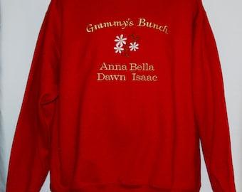 Grammy Sweatshirt, Custom Grandparent Gift, Personalize Seven Grandkids Name, Nana, Memere, Mammy, Mammie, Nonna, No Shipping Fee, AGFT 551