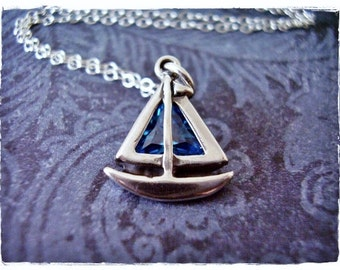 Blue Crystal Sailboat Necklace - Sterling Silver Crystal Blue Sailboat Charm on a Delicate Sterling Silver Cable Chain or Charm Only