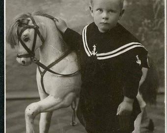 Little Boy with Fantastic CAROUSEL HORSE CDV Photo Stenkjaer Norway circa 1880s