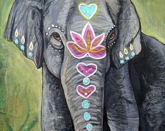 ELEPHANT Mixed Media Paintings Sacred Original Art Totem Animals Spirit Guides Wildlife ART Indian Elephants Artwork Lotus and Nightshade