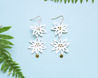 Daisy Flower Double Earrings Lace Stamped Spring Bride Bridesmaid Gift Floral Dangle Charm Wedding Recycled Leather