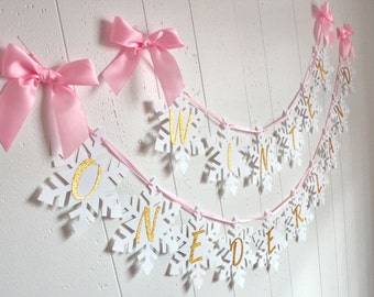 Winter Onederland Snowflake Banner in Pink and Gold. Handcrafted in 2-5 Business Days. Pink and ...