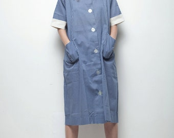 plus size vintage 70s day dress blue white checked pocketed smock sprint coat XL 1X 2X