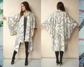 Vintage Japanese Floral Shibori Print Silk Kimono Robe Duster Jacket