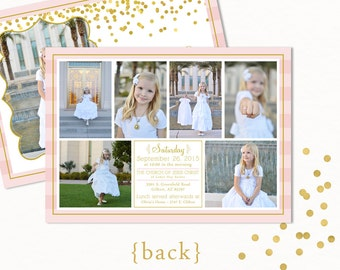 LDS BAPTISM INVITATION ~ lds girl baptism invitation ~ Gold and Pink Glitter Confetti 5x7 Double Sided