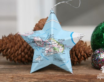 Maui, Hawaii - Map Covered Star Ornament - HI, Home Decor, Islands, 3 Dimensional, Christmas, Tree, Map Ornament