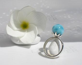 Larimar ball ring size 7 by Larimarandsilver, Mermaid Fiancée 9  azure Larimar pearl sky blue pearl ring dolphin stone handmade Larimar ring