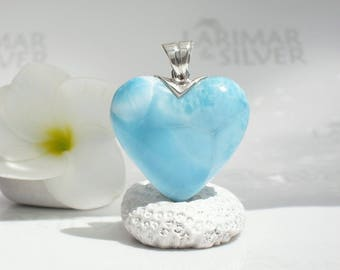 Larimar heart pendant by Larimarandsilver, Summer Love - sky blue Larimar, turquoise heart, turtleback, blue heart, handmade Larimar pendant
