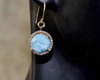 LP 1401  Beautiful Round Larimar Gemstone In  A Gold Plated Bezel With White CZ Earrings